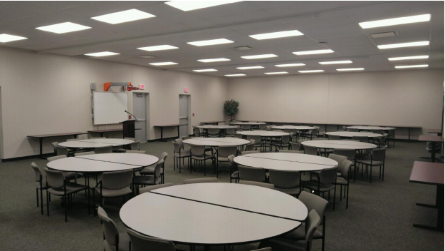 Three rooms with round tables